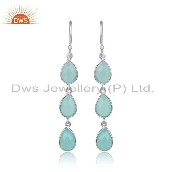 Aqua Chalcedony Gemstone Designer Sterling Fine Silver Earrings