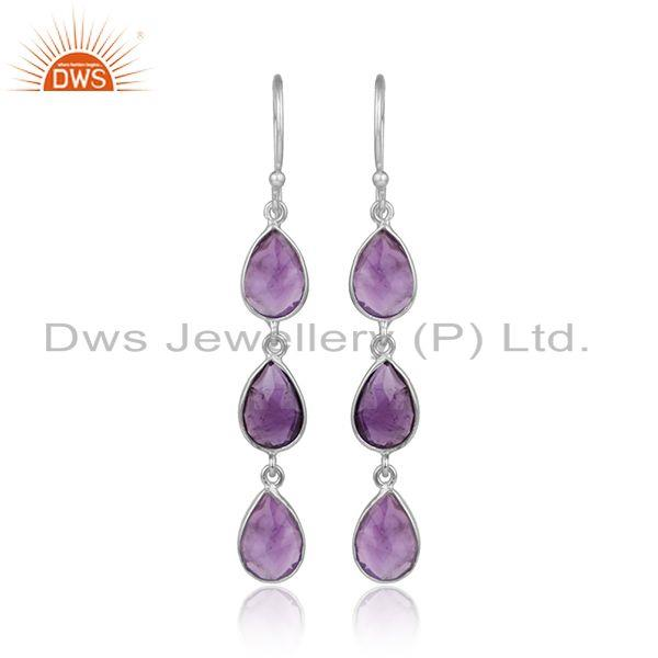 Natural Amethyst Gemstone Sterling Fine Silver Dangle Earrings