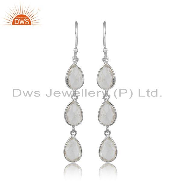 Crystal quartz gemstone new arrival fine sterling silver earrings