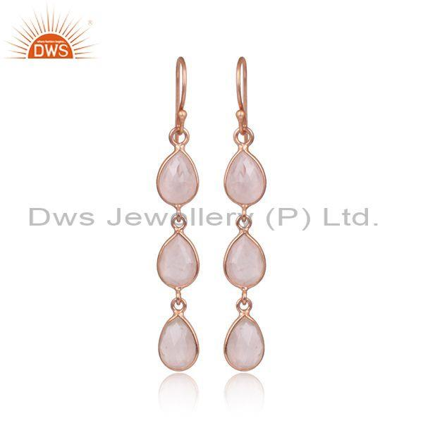 Rose gold plated silver quartz gemstone dangle earrings