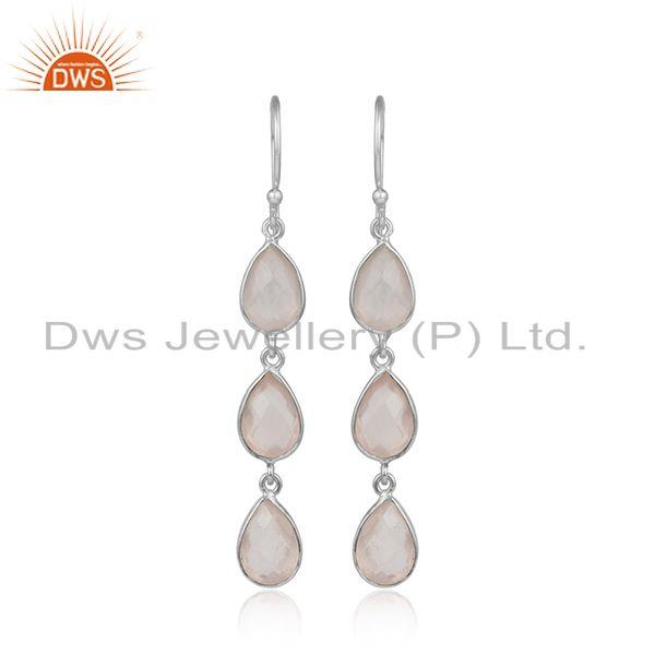 Rose quartz gemstone fine sterling silver dangle earrings jewelry