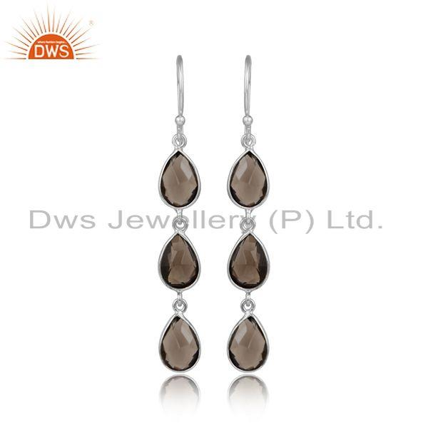 Handmade 925 Sterling Fine Silver Smoky Quartz Gemstone Earrings
