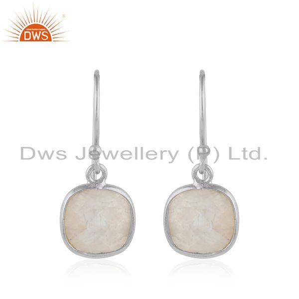 925 fine silver rainbow moonstone cushion design earrings jewelry