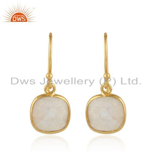 Rainbow moonstone gemstone gold plated 925 silver hook earring