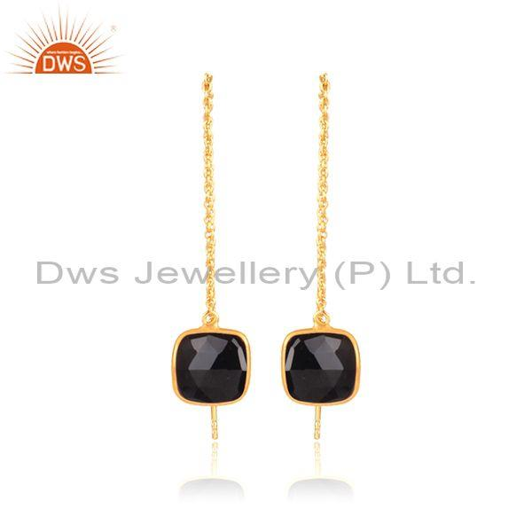 Square black onyx set gold on silver classic drop earrings