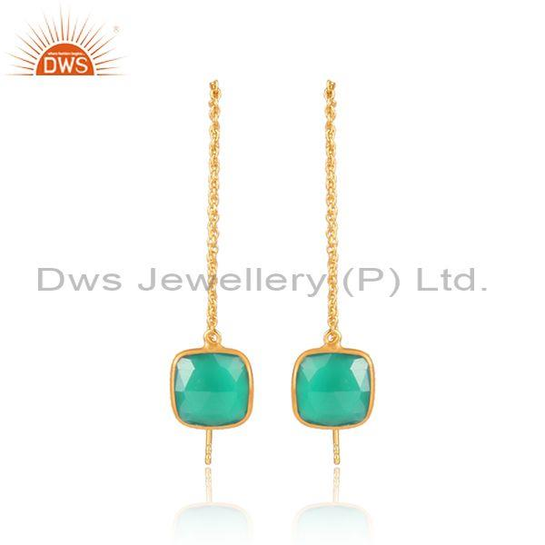 Square green onyx set gold on silver classic drop earrings