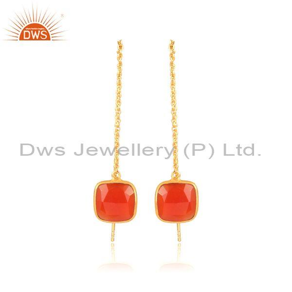 Square red onyx set gold on 925 silver classic drop earrings
