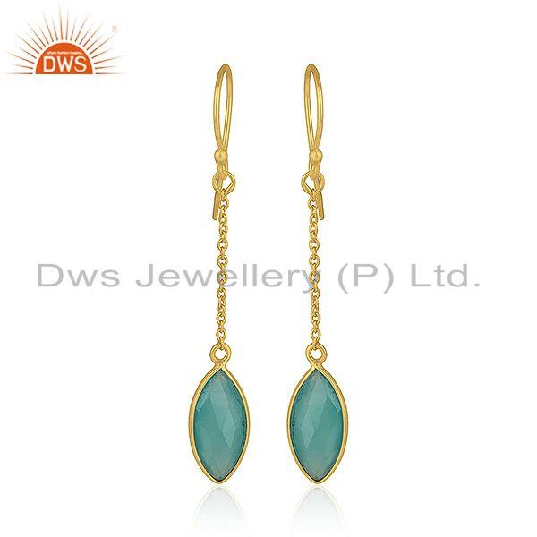 Aqua Chalcedony Gemstone 925 Silver Gold Plated Silver Chain Earrings