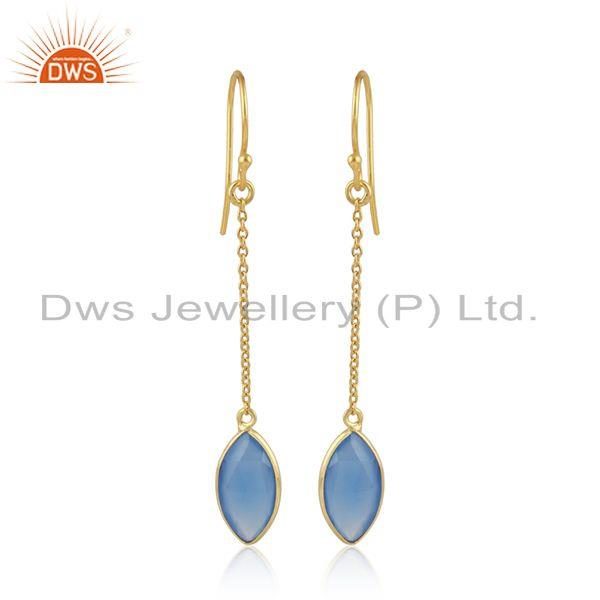 Gold Plated 925 Silver Blue Chalcedony Gemstone Chain Earrings