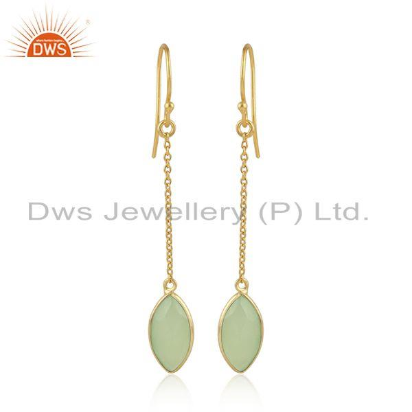 Prehnite Chalcedony Gemstone Gold Plated Silver Chain Earrings