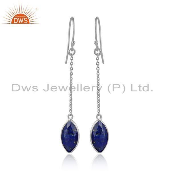 Lapis lazuli gemstone 925 fine silver designer chain earrings