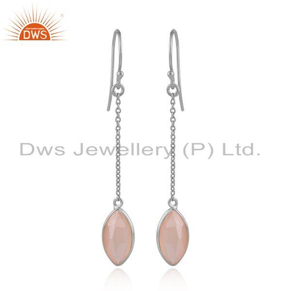 Rose Chalcedony Designer 925 Sterling Fine Silver Chain Earrings