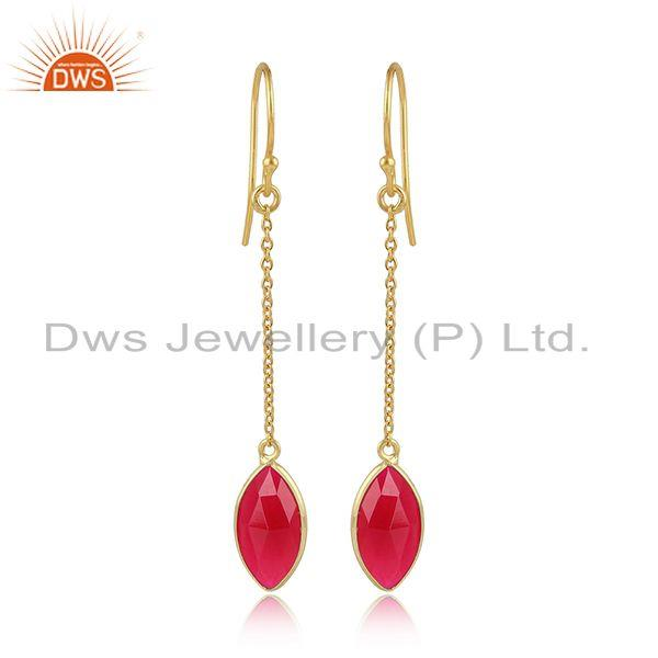 Designer Gold Plated 925 Silver Pink Chalcedony Chain Earrings