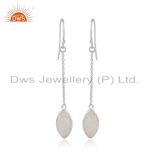 Rainbow Moonstone New Arrival Sterling Fine Silver Chain Earring