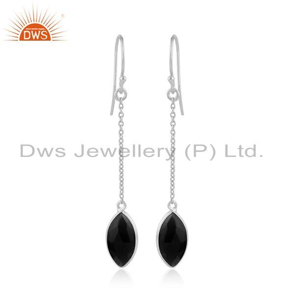 Marquise Shape Black Onyx Gemstone Fine Silver Chain Earrings
