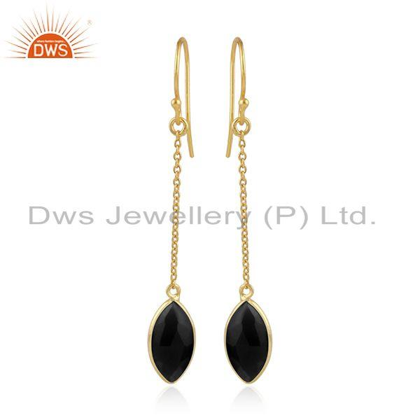 Natural Black Onyx Gemstone Handmade Gold Plated Silver Earrings