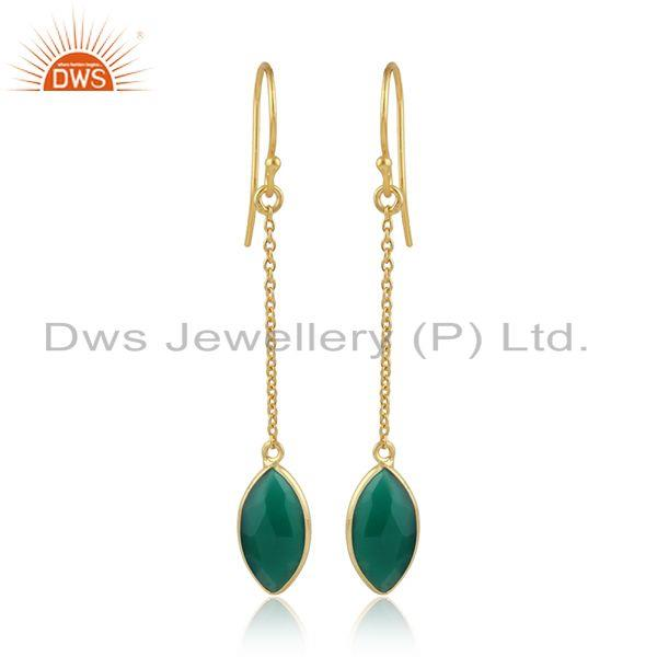 Green onyx gemstone yellow gold plated 925 silver chain earrings