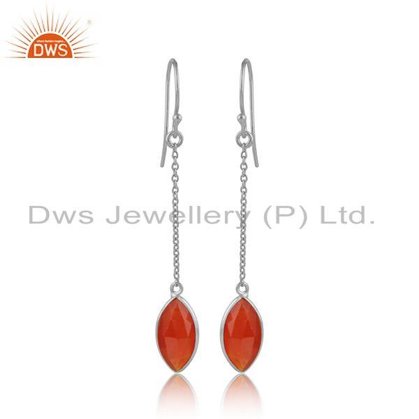 Red onyx gemstone designer fine sterling silver girls earrings