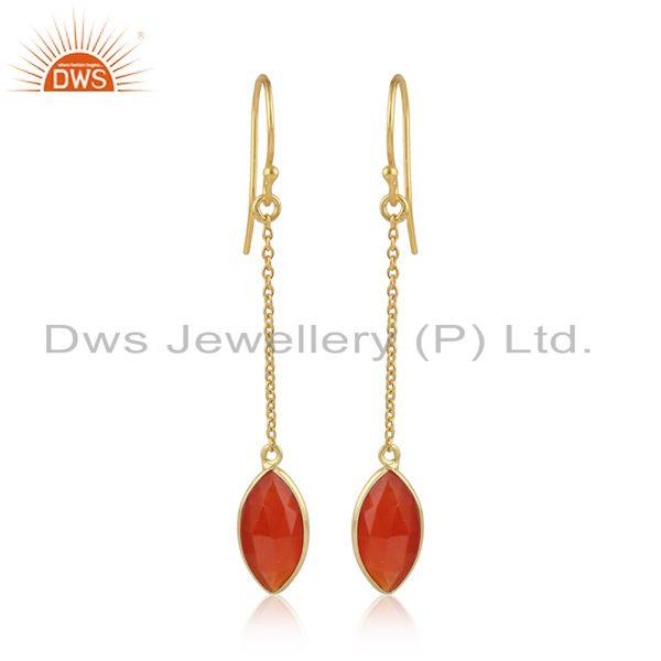 Red onyx gemstone designer 18k gold plated silver chain earrings