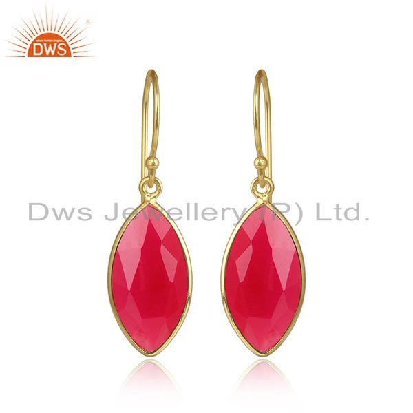 Pink chalcedony gemstone handmade gold plated silver earrings