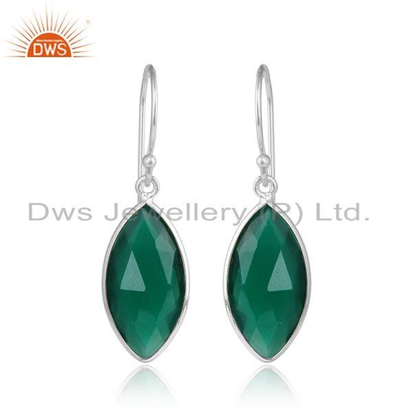 Green onyx gemstone drop designer 925 sterling silver earrings