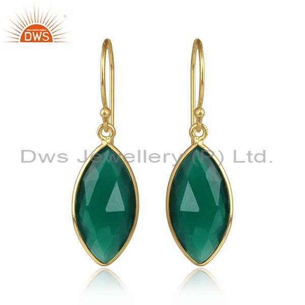 Green onyx gemstone yellow gold plated 925 silver earring jewelry
