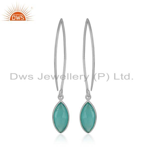 Designer Sterling Fine Silver Aqua Chalcedony Gemstone Hook Earrings