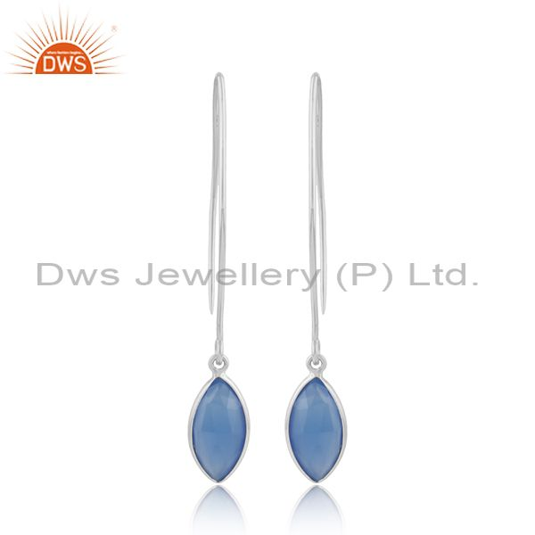 Blue chalcedony gemstone designer sterling silver hook earrings