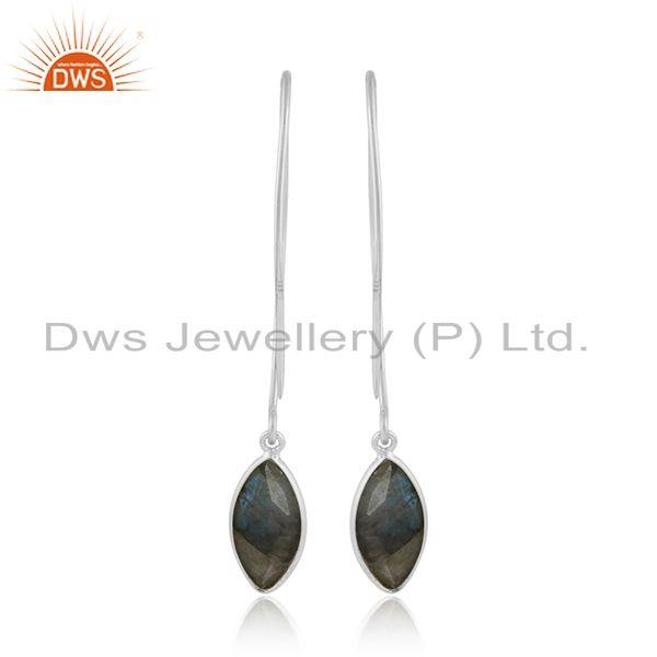 Labradorite gemstone womens 925 sterling silver hook earrings