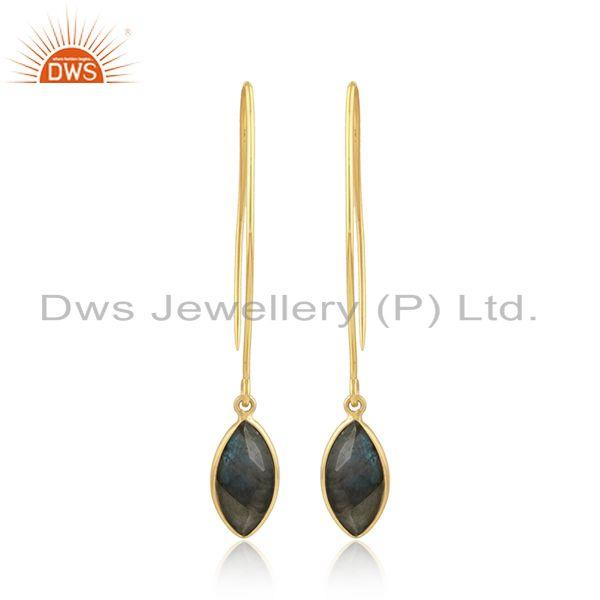 Hook Design Gold Plated Silver Labradorite Gemstone Earrings