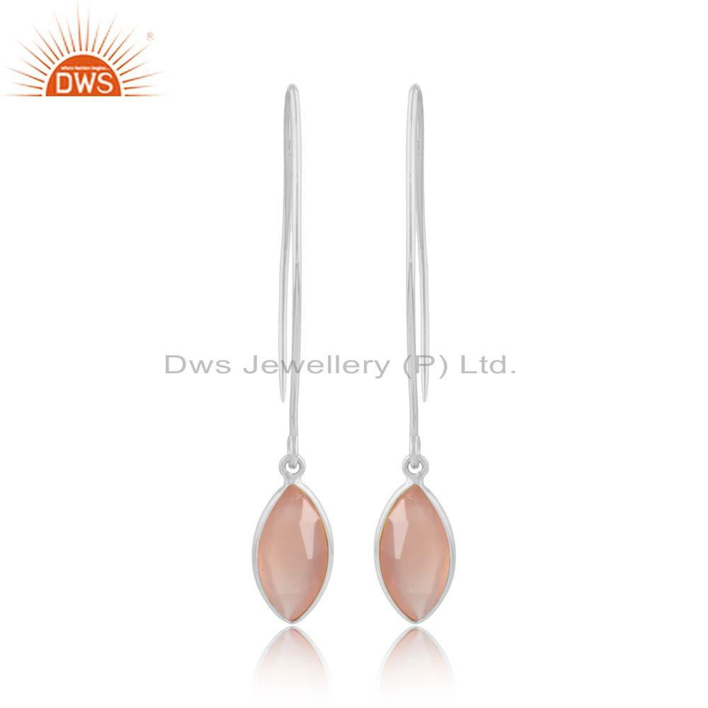 Rose chalcedony gemstone girls 925 sterling silver earrings
