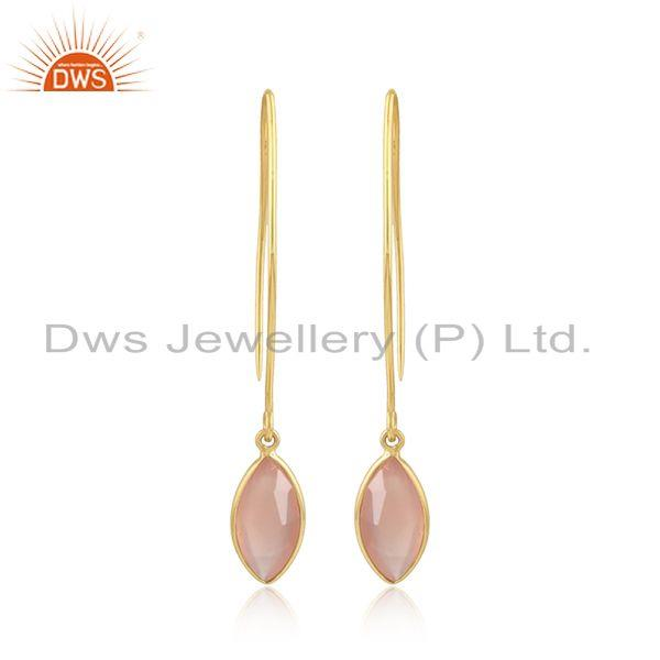 Rose Chalcedony Gemstone Womens Gold Plated Silver Hook Earrings