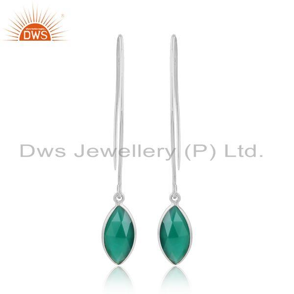 Hook 925 Sterling Fine Silver Green Onyx Gemstone Earring Jewelry
