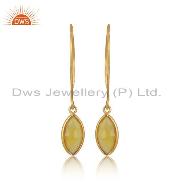Marquise cut yellow chalcedony gold on silver hook earrings