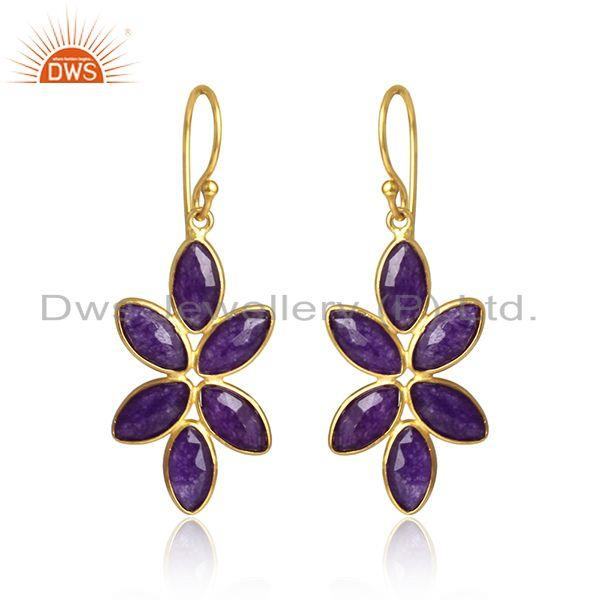 Floral gold plated silver aventurine gemstone designer earrings