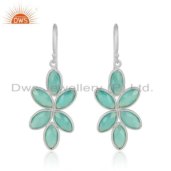 Floral Design 925 Fine Silver Aqua Chalcedony Gemstone Earrings Jewelry