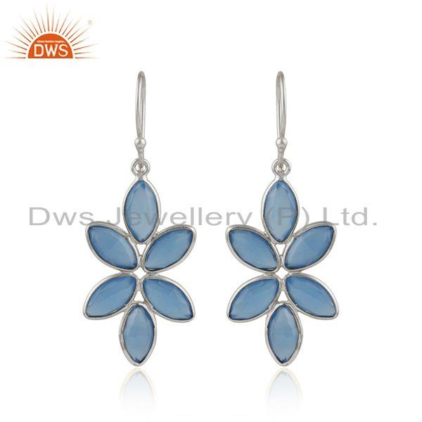 Blue chalcedony gemstone floral design fine silver earrings