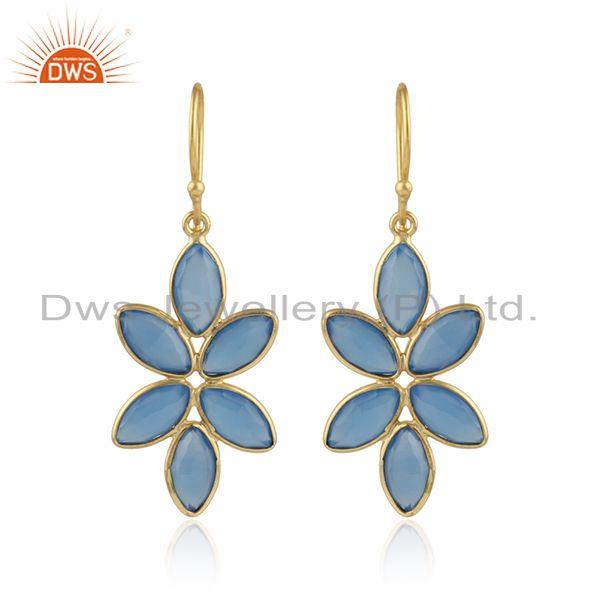 Foral designer gold plated 925 silver blue chalcedony earrings