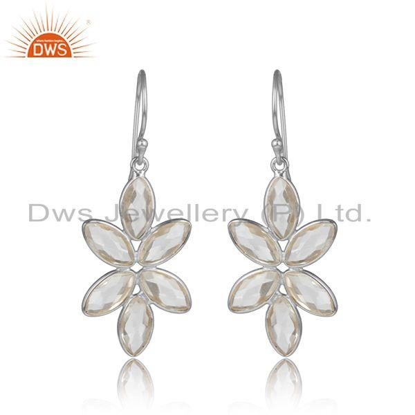 Crystal quartz gemstone sterling silver flower design earrings