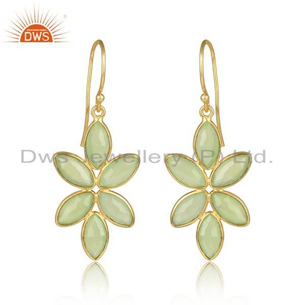 Prehnite chalcedony gemstone designer gold plated silver earrings