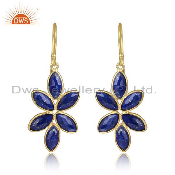 Lapis lazuli gemstone gold plated girl gold plated silver earring