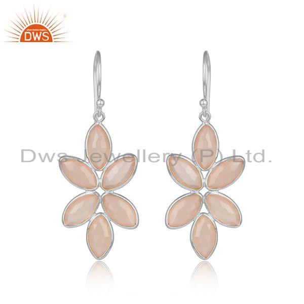 Rose Chalcedony Gemstone Floral Designer Fine Silver Earrings