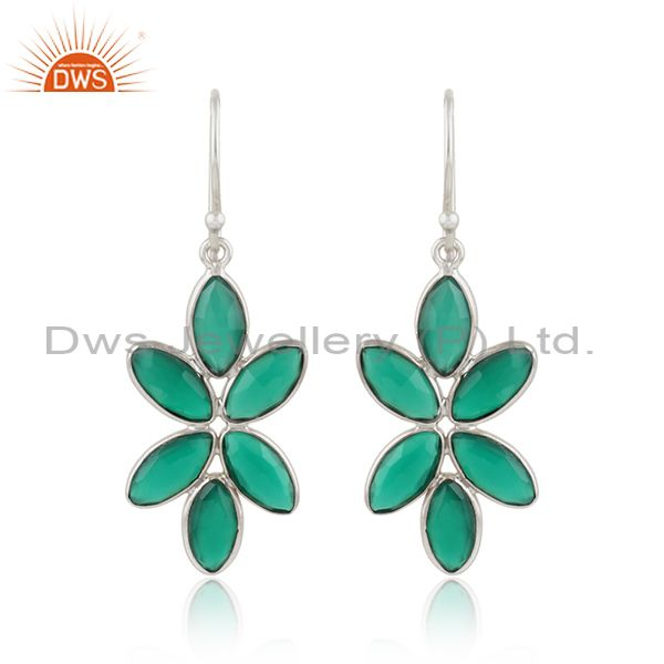 Green Onyx Gemstone Floral Designer Sterling Fine Silver Earrings