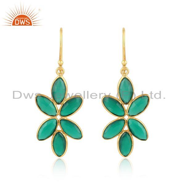 Green Onyx Gemstone Womens Gold Plated 925 Silver Earring Jewelry