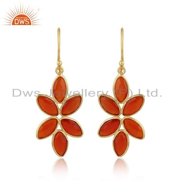 Red onyx gemstone floral design 18k gold plated silver earrings