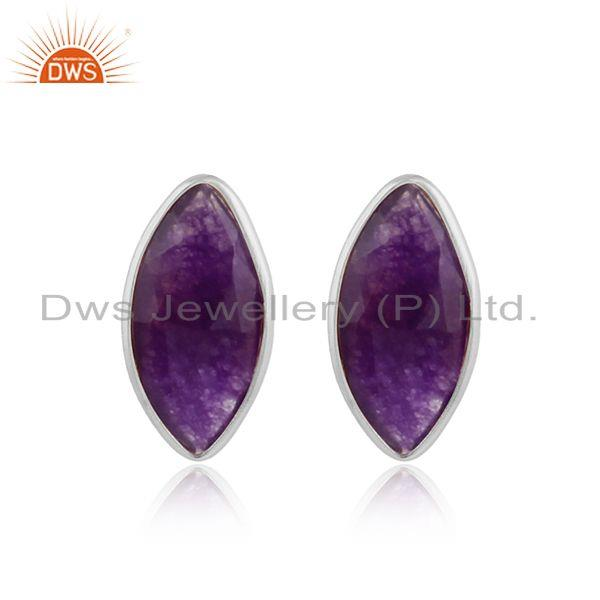 Sterling fine silver amethyst aventurine gemstone stud earrings