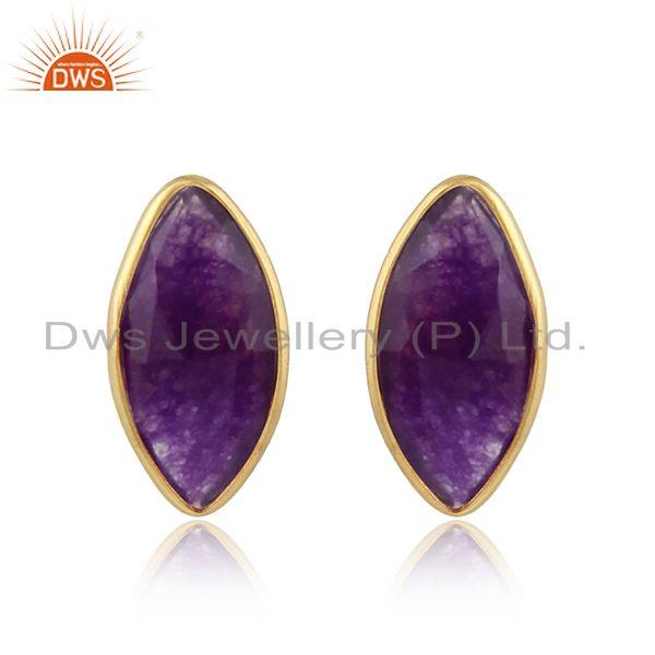 Natural Aventurine Gemstone Gold Plated Designer Silver Stud Earrings