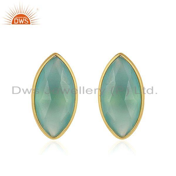 Aqua Chalcedony Gemstone Womens Gold Plated Silver Stud Earrings