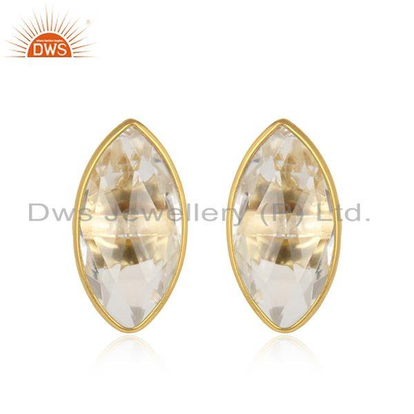 Crystal Quartz Gemstone Gold Plated Silver Designer Stud Earrings