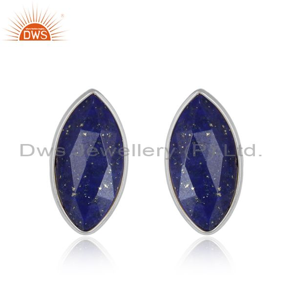 Lapis Lazuli Gemstone Handmade 925 Sterling Silver Stud Earrings